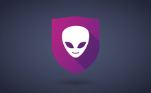 Long Shadow Shield Icon With  An Alien Face