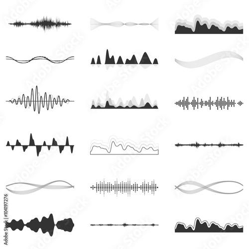 Fotografía  The equalizer, equalizer set,  icon set, vector set of waves, vector icons set waves, musical wave, sound waves, audio wave icon set, Audio equalizer technology, pulse musical , pulse musical set