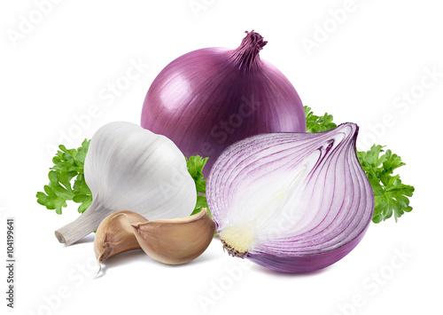 Fototapeta Red onion garlic parsley isolated on white background obraz