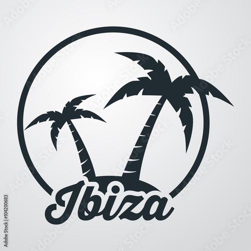 Icono plano Ibiza en isla en fondo degradado