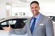 car salesman welcoming gesture