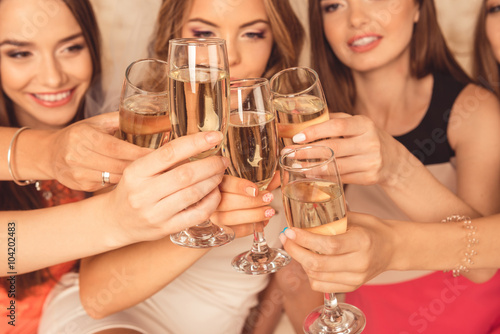 Obraz Close up photo of girls celebrating a bachelorette party and cli - fototapety do salonu