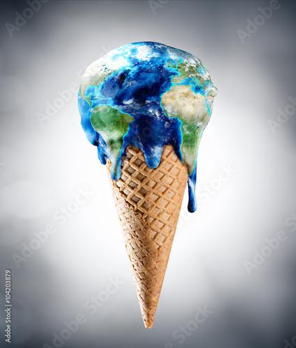 Cuadros en Lienzo Ice Cream World - Climate Change Concept