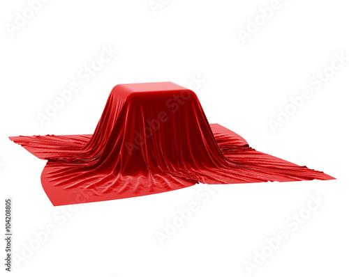 Fotografía  secret under the red silk cloth on white background