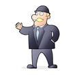 cartoon sensible business man in bowler hat