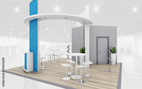 Fotografie, Obraz  Blue and Grey Exhibition Stand 3d Rendering