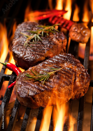 Beef steaks on the grill - 104218840