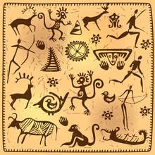 Set Elements African Petroglyph Art Old