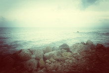 Sea And Rocky Coast In Misty G...