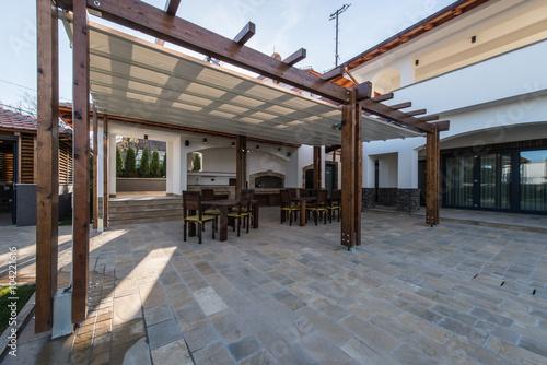 Beautiful terrace lounge with pergola Obraz na płótnie