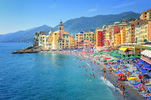 Sand Beach In Camogli By Genoa, Italy