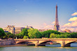 Eiffel tower rising over Seine river, Paris, France