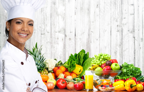 Poster Fruit Asian chef woman.