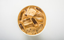 Ice Coffee On White, Top View