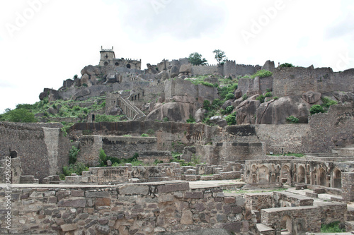 Photo  A birds eye view of a part of Golconda Fort dilapidated ruins