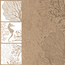 Hand-drawn Vector Background With Marine Plants And Seahorses.