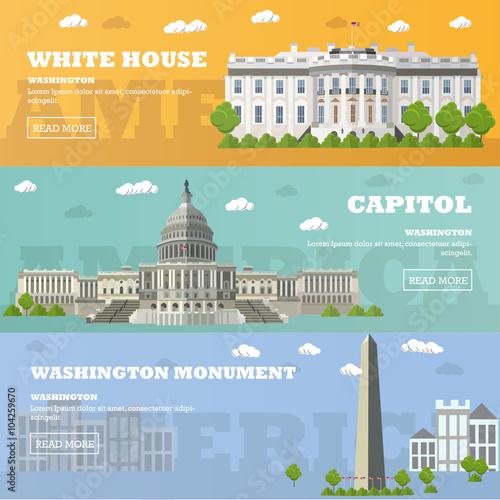 Fototapeta Washington DC tourist landmark banners. Vector illustration. Capitol, White House. obraz