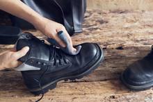 Shoeshine On Wooden Background