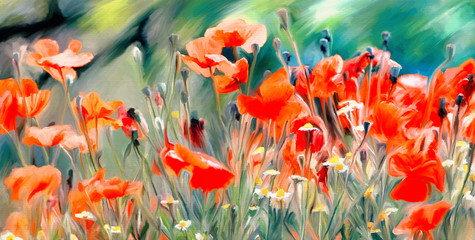Panel Szklany Maki art watercolor poppies paint background