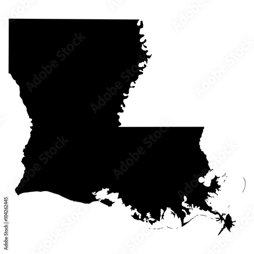 фотография Louisiana black map on white background vector
