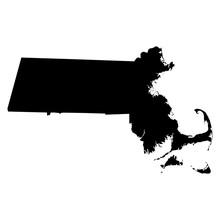 Massachusetts Black Map On Whi...
