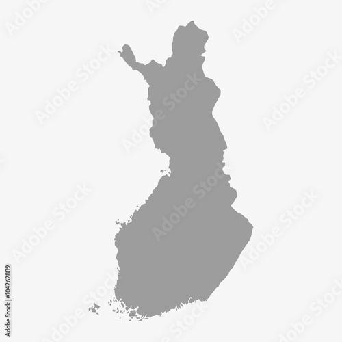 Mapa Finlandii na szaro na białym tle
