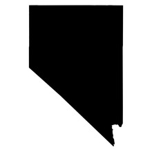 Nevada Black Map On White Back...