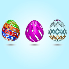 3d Colorful Easter Eggs