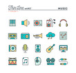 Music, sound, recording, editing and more, thin line color icons set, vector illustration