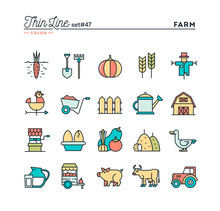 Farm, Animals, Land, Food Production And More, Thin Line Color Icons Set, Vector Illustration