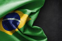 Flag Of Brazil On Blackboard Background