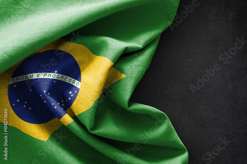 In de dag Brazilië Flag of Brazil on blackboard background