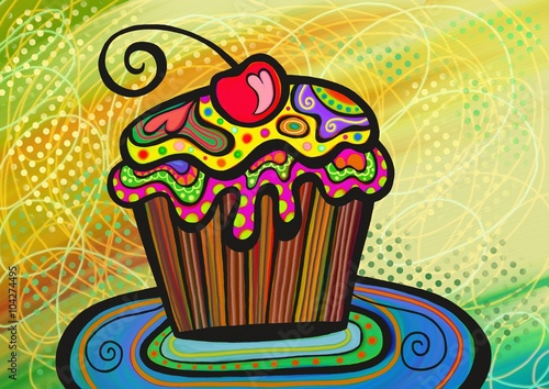 Fotografija  A digitally painted illustration of a cupcake drawn in a colorful folk art style
