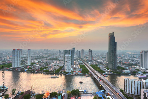 Bangkok city at sunset Canvas Print