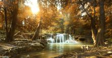 Beautiful Waterfall In Tropica...