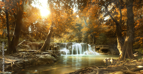 Fotobehang Watervallen beautiful waterfall in tropical forest
