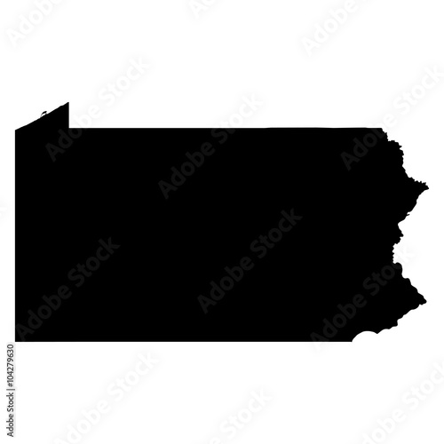 Fotografija Pennsylvania black map on white background vector