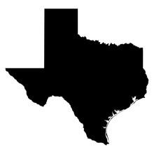 Texas Black Map On White Backg...