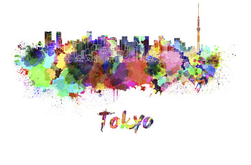 Panel SzklanyTokyo V2 skyline in watercolor