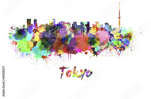 Tokyo V2 skyline in watercolor - 104281271