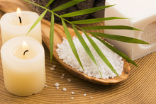 Sea Salt , Soap And Candles For Spa