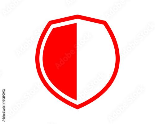 Fototapeta Simple Flat Red Shield