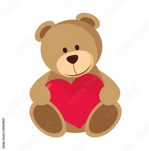 Teddy mit Herz Vektor freigestellt #104291837