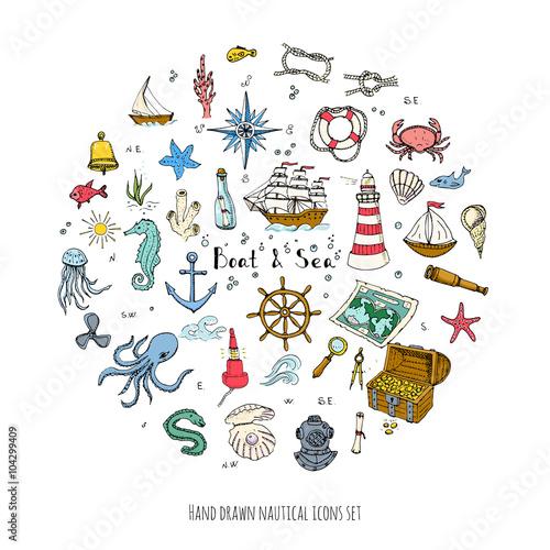 Fotografia  Hand drawn doodle Boat and Sea set Vector illustration boat icons sea life conce