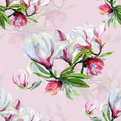 Fototapeta Do sypialni Seamless pattern of flowers magnolia