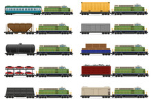 Set Icons Railway Train With Locomotive And Wagons Vector Illust