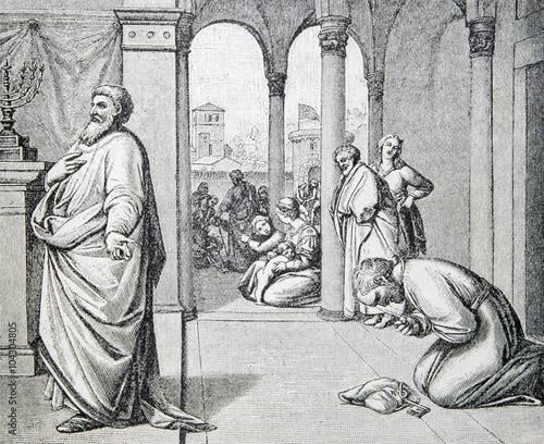 Fototapeta The Prayers of Pharisees and Tax Collectors lithography