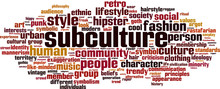 Subculture Word Cloud Concept. Vector Illustration