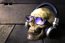 Skull Wearing Headphone And Glasses