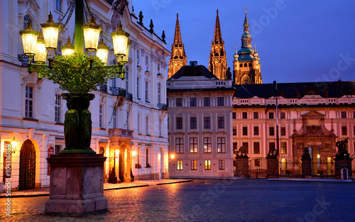 Fotografie, Obraz  A lantern and Prague castle entrance in the evening